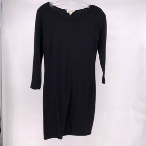 Forever21 Black Fitted Long Sleeve Stretch Dress